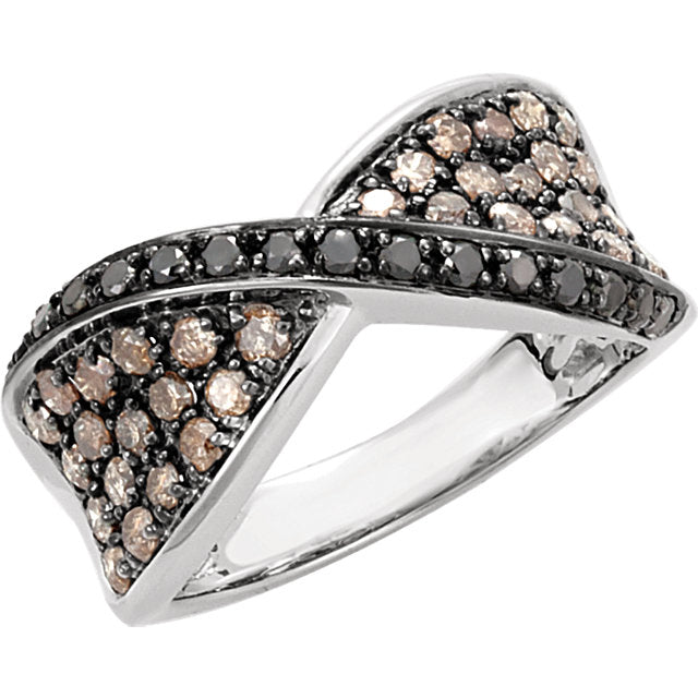 WOW Diamond Fashion | 14K White 1 CTW Black & Brown Diamond Ring