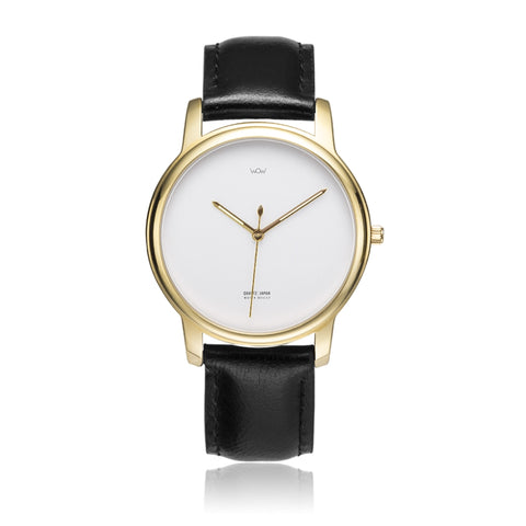 WOW | J Collection Premium Gold Black Leather Strap Water-resistant Quartz Watch