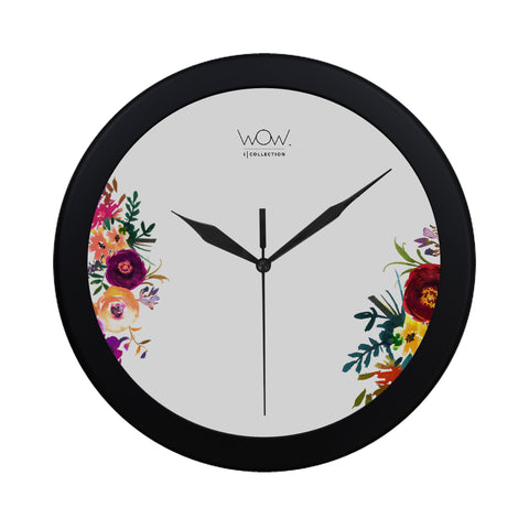 WOW | i Collection B&W Colorful Floral Elegant Round Black Framing Wall Clock