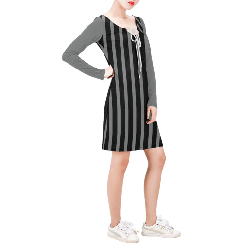 WOW | i Collection Long Sleeves Black & Grey Stripes Dress