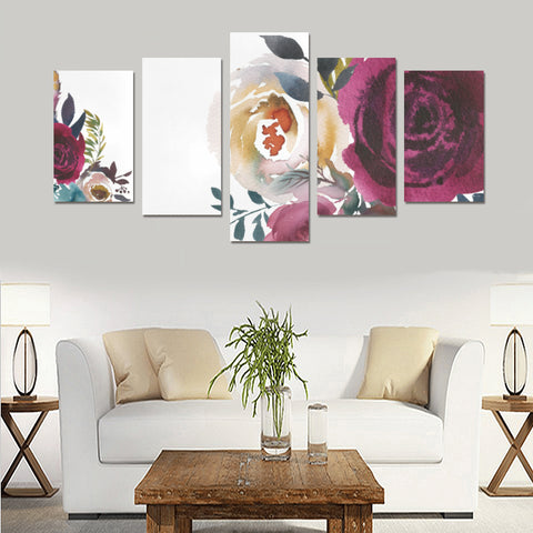 WOW | i Collection 5 Piece Colorful Floral Wall Art Canvas Print