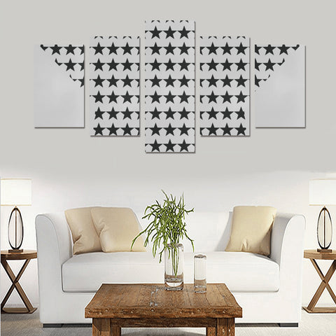 WOW | i Collection 5 Piece B&W Star Pattern Wall Art Canvas Print