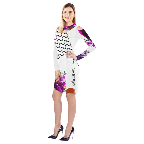 WOW | i Collection Geo S-Wave Purple Floral Halter Off Shoulder Long-Sleeve White Dress