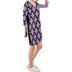 WOW | i Collection Deep V-Neck Three-Quarter Sleeve Black & Purple Diamondy Dress