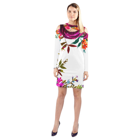 WOW | i Collection Colorful Pink Floral Halter Off Shoulder Long-Sleeve White Dress