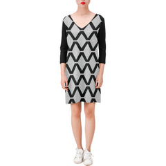 WOW | i Collection Deep V-Neck Three-Quarter Sleeve Black & Grey Diamondy Dress