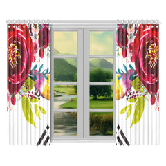 WOW | i Collection Red Floral 52x84 2Pcs White Window Curtains