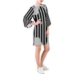 WOW | i Collection Bell Sleeve Trendy Black & White Stripes Dress