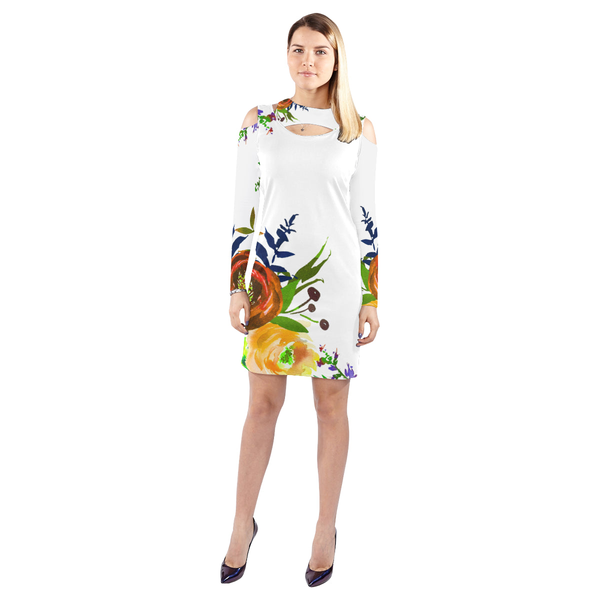 WOW | i Collection Colorful Brown Floral Halter Off Shoulder Long-Sleeve White Dress