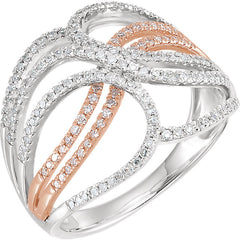 WOW Diamond Fashion | 14K White & Rose 1/2 CTW Diamond Criss-Cross Ring
