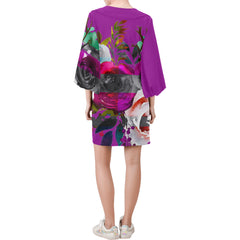 WOW | i Collection Bell Sleeve Colorful Purple Floral Trendy Dress