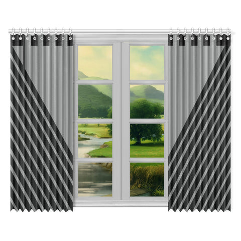 WOW | i Collection Geo Stripes 52x84 2Pcs Grey Window Curtains