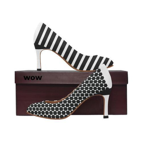 WOW | i Collection Women's Pumps High Heels Trendy Hexi Pattern B&W Shoes