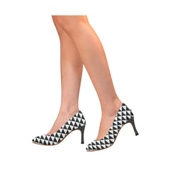 WOW | i Collection Women's Pumps High Heels B&W Triangular Pattern Shoes