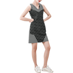 WOW | i Collection Sleeveless Black & Grey Hexi Pattern Trendy Dress