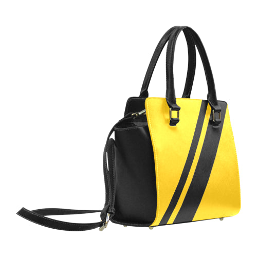 WOW | i Collection Women's Classic Stylify Geo Pattern B&W Yellow Shoulder Handbag
