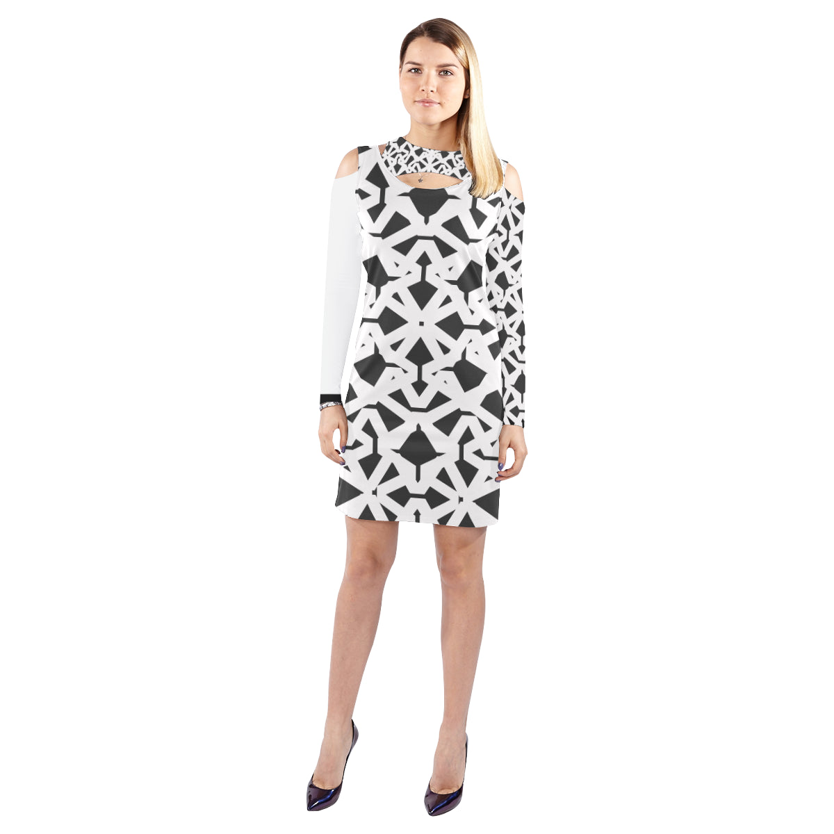 WOW | i Collection Geo Abstgract Halter Off Shoulder Long-Sleeve B&W Dress