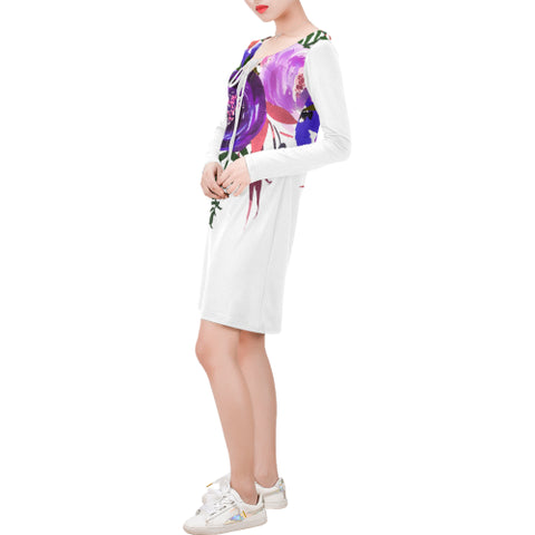 WOW | i Collection Long Sleeves White Colorful Floral Dress