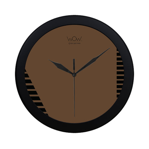 WOW | i Collection B&W Rich Brown Elegant Round Black Framing Wall Clock
