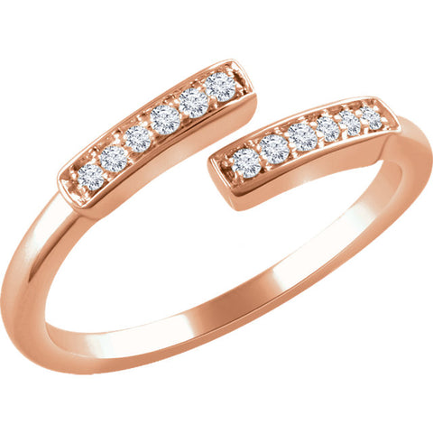 WOW Diamond Fashion | 14K Rose 1/10 CTW Diamond Negative Space Bar Ring