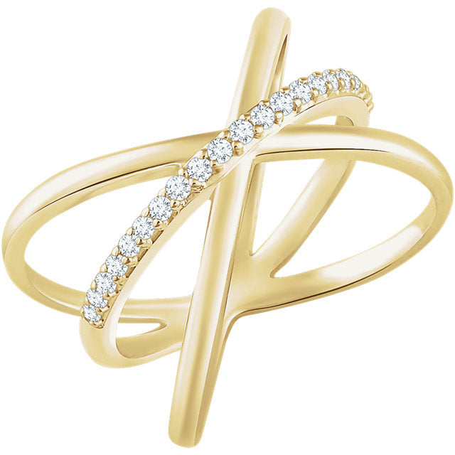 WOW Diamond Fashion | 14K Yellow 1/6 CTW Diamond Criss-Cross Ring