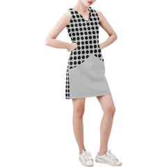 WOW | i Collection Sleeveless Black & Grey Circular Pattern Trendy Dress