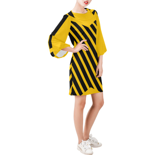 WOW | i Collection Bell Sleeve Trendy Black & Yellow Bee Dress