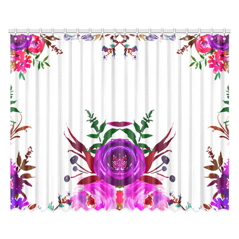 WOW | i Collection Pink Purple Colorful Floral 52x84 2Pcs White Window Curtains