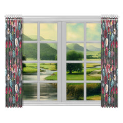 WOW | i Collection Colorful Floral Pattern 52x84 2Pcs Black Window Curtains