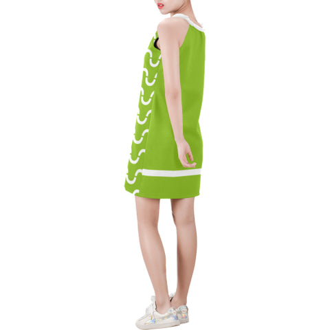 WOW | i Collection Sleeveless Green & White S-Wave Pattern Trendy Dress