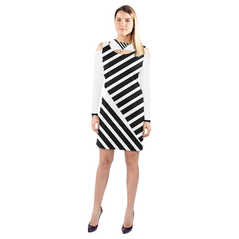 WOW | i Collection Geo Stripes Halter Off Shoulder Long-Sleeve B&W Dress