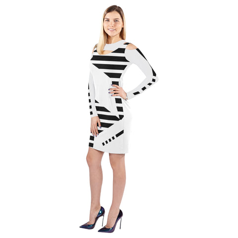 WOW | i Collection Geo Stripes Halter Off Shoulder Long-Sleeve White Dress