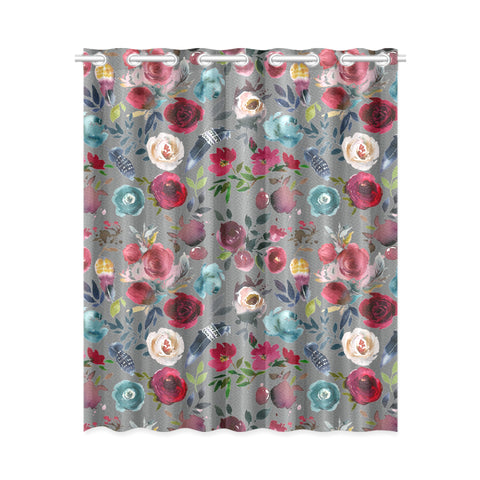 WOW | i Collection Colorful Floral Pattern Design 52x63 Grey Window Curtain