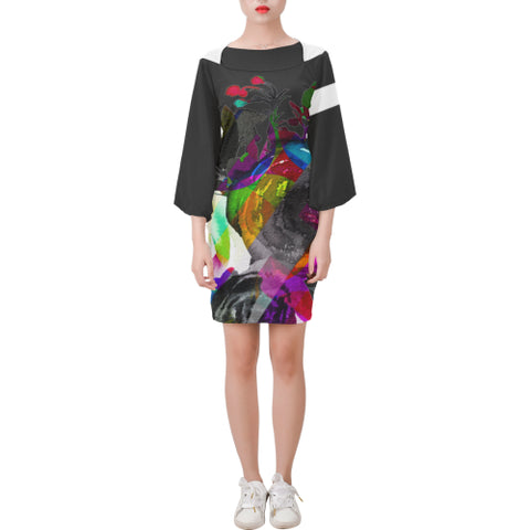 WOW | i Collection Bell Sleeve B&W Colorful Floral Trendy Dress