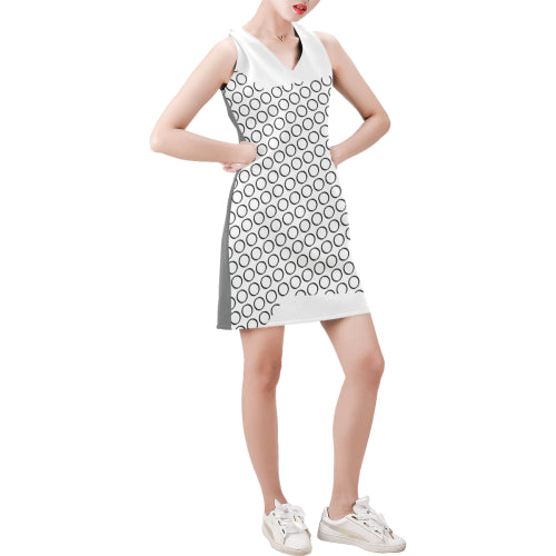 WOW | i Collection Sleeveless Black & White Circular Pattern Trendy Dress