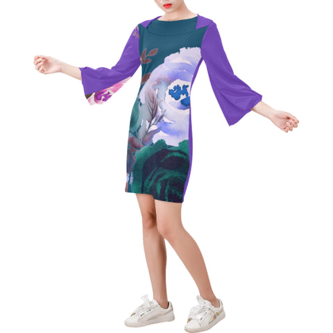 WOW | i Collection Bell Sleeve Floral Trendy Blue Tone Dress