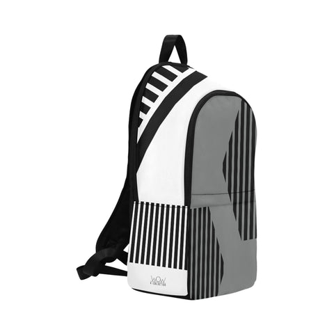WOW | i Collection Geo H Stripes High Grade Waterproof Nylon Casual Grey White Backpack