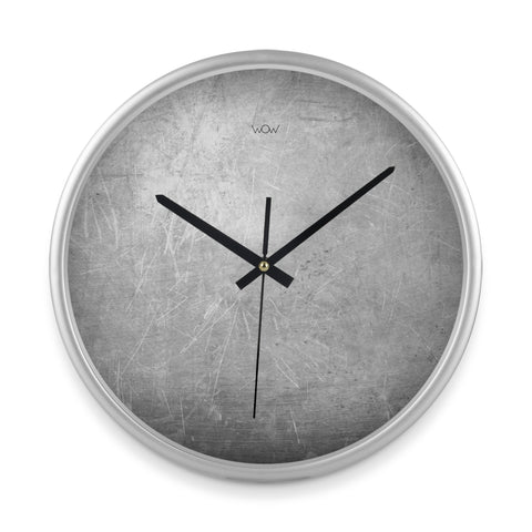 WOW | J Collection 14in Silver Framed Sweep Movement Mute Marble Wall Abstract Clock