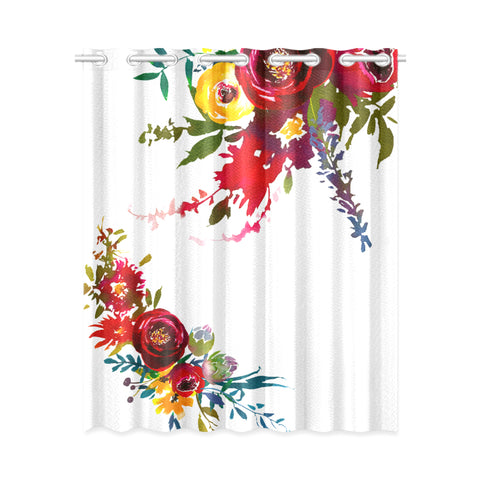 WOW | i Collection Colorful Floral Design 52x63 White Window Curtain