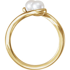 WOW Pearl Fashion | 14K White Freshwater Cultured Pearl Two-Stone Ring