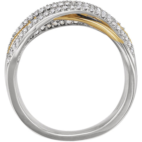 WOW Diamond Fashion | 14K White & Yellow 1/2 CTW Diamond Criss-Cross Ring