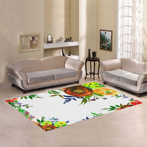WOW | i Collection Colorful Brown Floral White Area Rug 7' x 5'