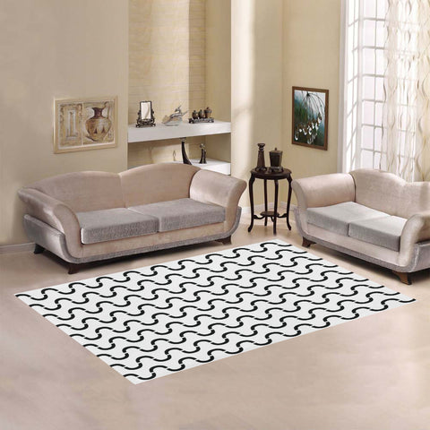 WOW | i Collection B&W Geo S-Wave Area Rug 7' x 5'