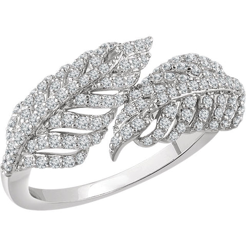 WOW Diamond Fashion | 14K White 1/2 CTW Diamond Leaf Ring