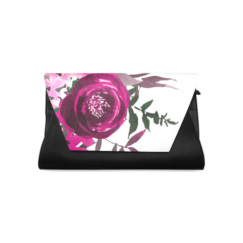 WOW | i Collection Women's Fashion Colorful Purple Floral Pattern Clutch Bag