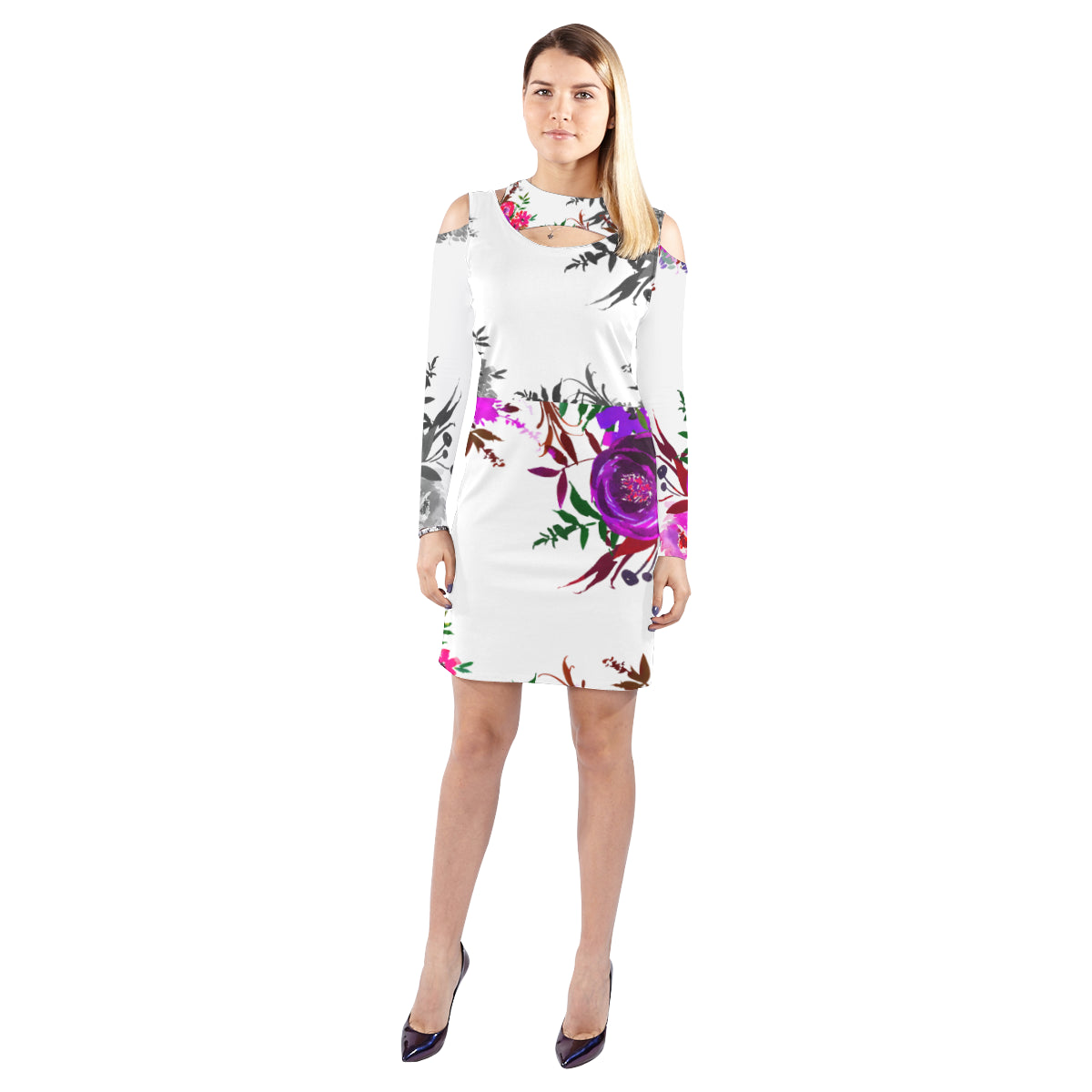 WOW | i Collection Purple Floral Halter Off Shoulder Long-Sleeve White Dress