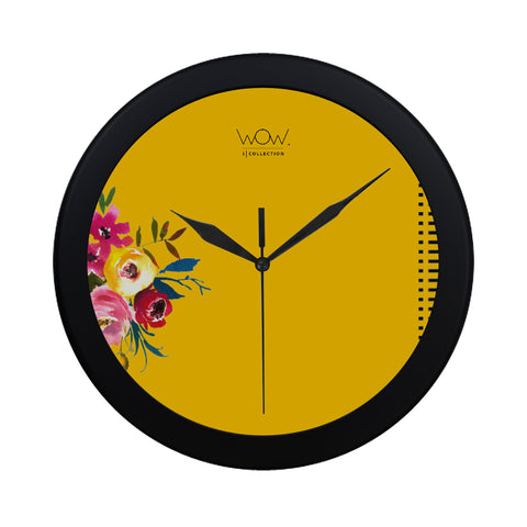 WOW | i Collection B&W Yellow Elegant Round Black Framing Wall Clock