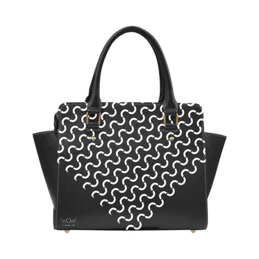 WOW | i Collection Women's Classic Stylify S-Wave Geo Pattern B&W Shoulder Handbag