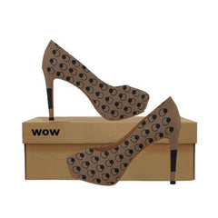 WOW | i Collection Women's High Heels Black and Brown Pattern Fashion Shoes