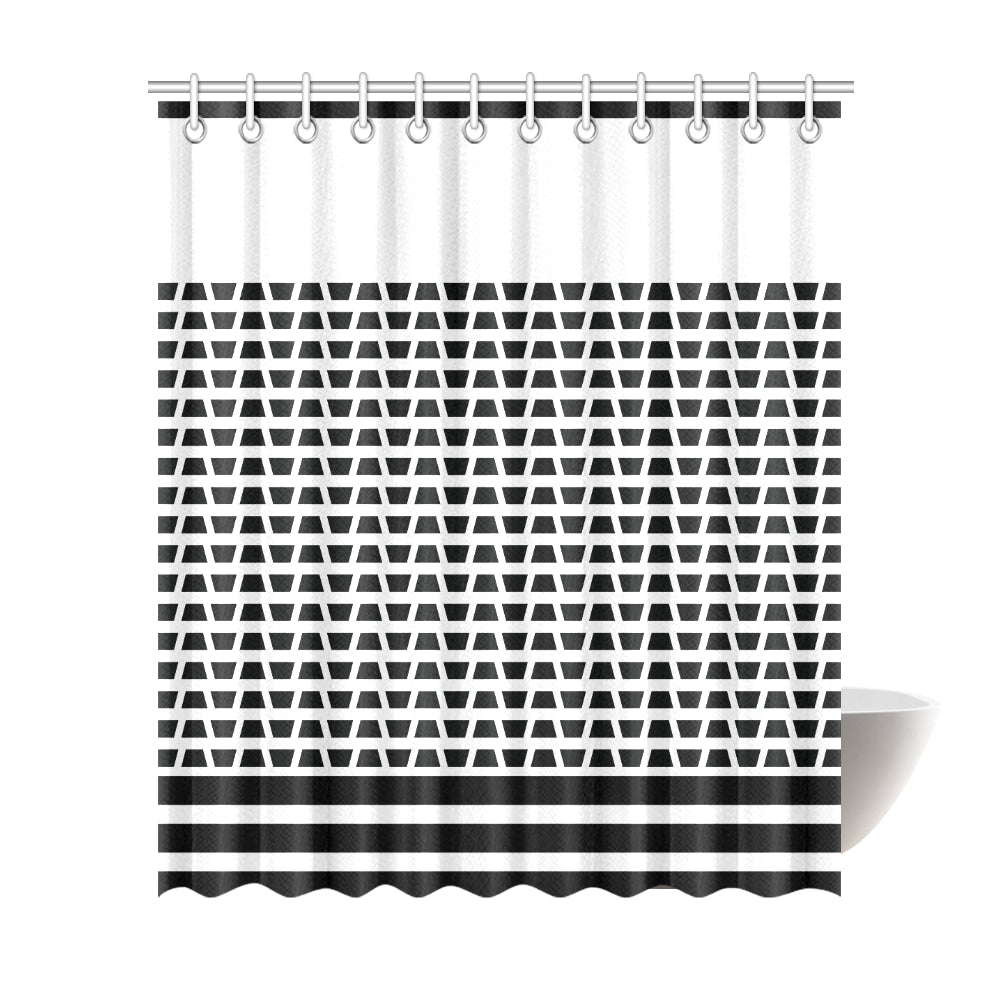 WOW | i Collection B&W Geo Corners Designer 72x84 Shower Curtain